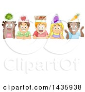 Clipart Of School Children Over A Sign With Vegetable Hats Royalty Free Vector Illustration