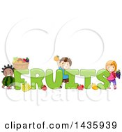 Clipart Of School Children With Produce Around FRUITS Text Royalty Free Vector Illustration
