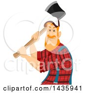 Clipart Of A Red Haired White Male Lumberjack Swinging An Axe Royalty Free Vector Illustration by BNP Design Studio