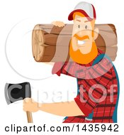 Clipart Of A Red Haired White Male Lumberjack Carrying A Log And An Axe Royalty Free Vector Illustration by BNP Design Studio