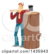 Clipart Of A Red Haired White Male Lumberjack Leaning On A Big Log And Holding An Axe Royalty Free Vector Illustration by BNP Design Studio