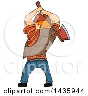 Clipart Of A Cartoon Rear View Of A Red Haired White Male Lumberjack Swinging An Axe Royalty Free Vector Illustration by BNP Design Studio