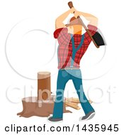 Clipart Of A Rear View Of A Red Haired White Male Lumberjack Swinging An Axe And Splitting Firewood Royalty Free Vector Illustration by BNP Design Studio
