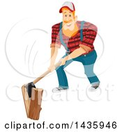 Clipart Of A Red Haired White Male Lumberjack Splitting A Log With An Axe Royalty Free Vector Illustration by BNP Design Studio