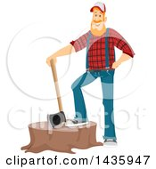 Red Haired White Male Lumberjack Resting A Foot On A Stump With An Axe