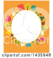 Clipart Of A Blank Oval Framed With Shapes And Nature Icons On Orange Royalty Free Vector Illustration