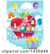 Clipart Of A Train Around An Apple House With Alphabet Letters And A Lightbulb Against Sky Royalty Free Vector Illustration