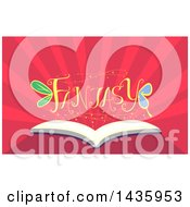 Clipart Of An Open Book With Fantasy Text Over Rays Royalty Free Vector Illustration
