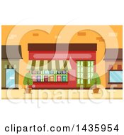 Clipart Of A Book Shop Storefront Royalty Free Vector Illustration