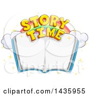 Clipart Of A Rainbow And Story Time Text Over An Open Book Royalty Free Vector Illustration