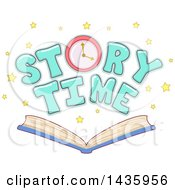 Clipart Of A Clock And Story Time Text With Stars Over An Open Book Royalty Free Vector Illustration