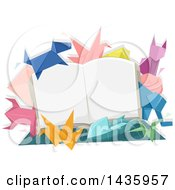 Clipart Of An Open Book With Origami Animals Royalty Free Vector Illustration