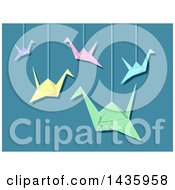 Clipart Of Suspended Origami Cranes Over Blue Royalty Free Vector Illustration