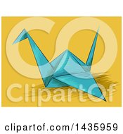 Clipart Of A Blue Origami Crane On Yellow Royalty Free Vector Illustration