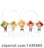 Clipart Of A Row Of Children Wearing Maple Leaves Royalty Free Vector Illustration