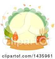 Clipart Of A Circle Label With Autumn Leaves Trees Wheat And A Pumpkin Over A Banner Royalty Free Vector Illustration by BNP Design Studio