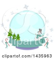 Clipart Of A Round Snowglobe Label With A Snowman Snowflakes And Christmas Trees Over A Banner Royalty Free Vector Illustration