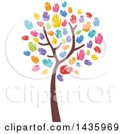 Clipart Of A Tree With Colorful Hand Print Foliage Royalty Free Vector Illustration
