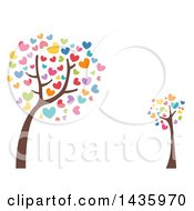 Clipart Of Leaning Trees With Colorful Heart Foliage Royalty Free Vector Illustration