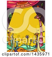 Clipart Of Alien Creatures Below A Spaceship Royalty Free Vector Illustration