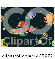 Clipart Of A Seamless Ufo And Outer Space Background Royalty Free Vector Illustration by BNP Design Studio