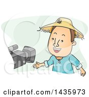 Clipart Of A Cartoon Brunette White Male Farmer Being Interviewed Royalty Free Vector Illustration