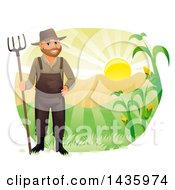Happy Male Farmer In Overalls Holding A Rake Against Hills And A Sunrise