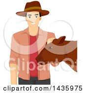 Happy Male Farmer Petting A Cow
