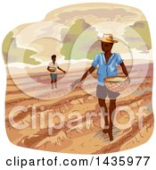 Clipart Of Sketched Farmers Scattering Seeds Royalty Free Vector Illustration