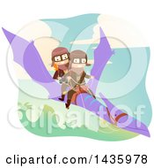 Poster, Art Print Of Boy And Girl Riding A Pterodactyl Dinosaur