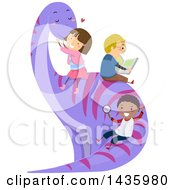 Poster, Art Print Of Group Of Chidlren Sitting On And Sliding Down A Dinosaur