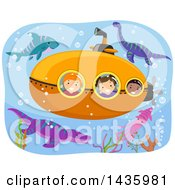 Poster, Art Print Of Submarine With Children Surrounded By Dinosaurs