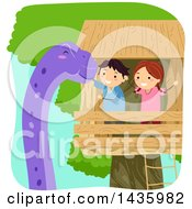 Clipart Of A Boy And Girl In A Tree House Petting A Dinosaur Royalty Free Vector Illustration by BNP Design Studio