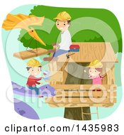 Poster, Art Print Of Dionsaurs Helping A Family Build A Tree House