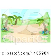 Clipart Of A Prehistoric Landscape With Palm Trees And Dinosaur Ribs Royalty Free Vector Illustration