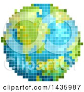 Clipart Of A Pixelated Planet Earth Royalty Free Vector Illustration