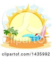 Clipart Of A Round Summer Sun Label With A Surfboard Beach Ball Wave And Palm Trees Over A Banner Royalty Free Vector Illustration by BNP Design Studio