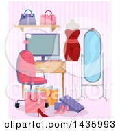 Clipart Of A Computer Monitor In A Room With A Mannequin Mirror And Shopping Bags Royalty Free Vector Illustration