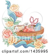 Clipart Of A Sewing Basket Ribbon And Roses Royalty Free Vector Illustration