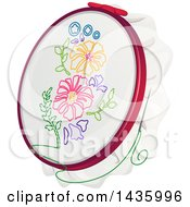Clipart Of A Cloth Embroidered With Flowers Royalty Free Vector Illustration