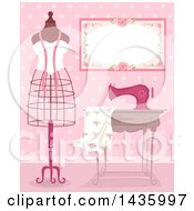 Clipart Of A Metal Frame Mannequin By A Sewing Machine And Dress Fabric In A Pink Room Royalty Free Vector Illustration