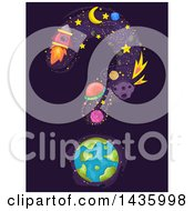 Clipart Of Science And Astronomy Icons With Earth Forming A Question Mark Royalty Free Vector Illustration by BNP Design Studio