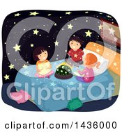 Clipart Of Children Sittingon A Bed With A Constellation Light Dome Royalty Free Vector Illustration
