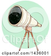 Clipart Of A Sketched Telescope On A Tripod Over A Green Circle Royalty Free Vector Illustration