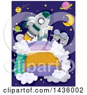 Clipart Of A Rocket And Astronauts Above A Bead With Planets Royalty Free Vector Illustration by BNP Design Studio