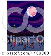 Clipart Of A Crowd Of People Watching A Lunar Eclips Near A City Royalty Free Vector Illustration by BNP Design Studio