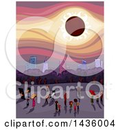 Clipart Of A Crowd Of People Watching A Solar Eclipse Near A City Royalty Free Vector Illustration