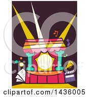 Clipart Of A Theater Stage With Lights Royalty Free Vector Illustration
