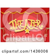Clipart Of A Stage With Red Curtains And Theater Text Hanging Royalty Free Vector Illustration