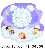 Clipart Of Children Sleeping On A Cloud Under A Clock Royalty Free Vector Illustration by BNP Design Studio